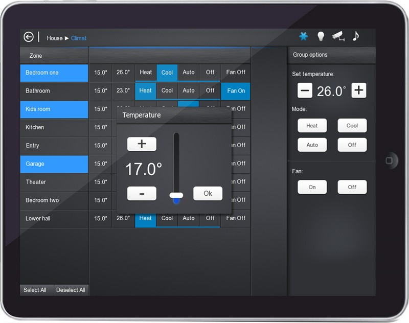 iRidium interface Black GUI